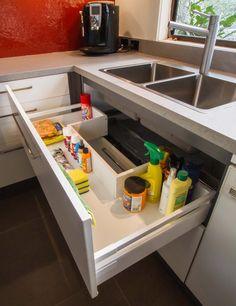 Under sink drawer with storage.thekitchendes… Under sink drawer with storage. Kitchen Sink Organization, Kitchen Pantry Design, Kitchen Storage Solutions, Diy Kitchen Storage, Modern Kitchen Design, Home Decor Kitchen, Interior Design Kitchen, Under Sink Drawer, Under Sink Storage