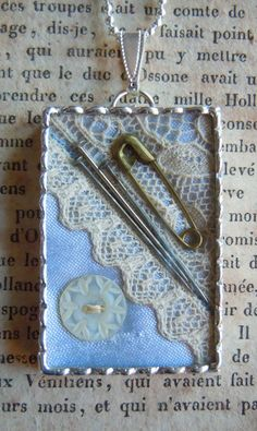 Fiona & The Fig-Antique Victorian Lace and Button - Heirloom Sewing Keepsake -Tiny Shadow Box-Necklace - Silver Soldered Pendant-Charm