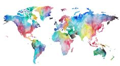 Rainbow World Map Printable Watercolor World Map Wall Art Wallpaper Travel, World Map Wallpaper, Of Wallpaper, Tumblr Wallpaper, World Map Canvas, World Map Poster, World Map Wall Art, Art World, World Map Painting