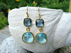 Aquamarine Earrings,Saphhire Earrings,Aqua,Aquamarine jewelry,sapphire jewelry,Gold Earrings,Beach Wedding,Bridesmaid Earrings,gifts by LetItBeLove on Etsy