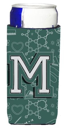 Letter M Back to School Initial Ultra Beverage Insulators for slim cans CJ2010-MMUK