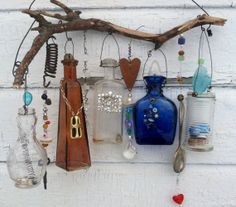 Bottle Chime/Vintage Bottles Embellished with Found Objects, buttons beads, etc. Wire Crafts, Bead Crafts, Bottle Art, Bottle Crafts, Eclectic Gallery Wall, Recycle Art, Diy Wind Chimes, Jar Lanterns, Ceiling Hanging