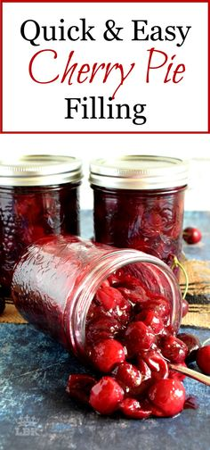 Quick and Easy Cherry Pie Filling - Lord Byron's Kitchen - (Pies & Tarts) -You can find Tarts and more on our website.Quick and Easy Cherry Pie F. Sour Cherry Pie, Sweet Cherry Pie, Cherry Sauce, Cherry Tart, Cherry Jam Recipes, Homemade Cherry Pies, Cherry Desserts, Canned Cherries, Frozen Cherries