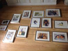 Aquarelschilderijen klaar voor expositie