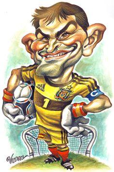 """Caricatura del portero """"Iker Casillas"""" por Joan Vizcarra"""