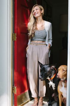 I love her style! Her furry friends are precious too