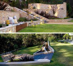 terrasse am hang metall-rutsche-stufen-holz-gestaltung | garten, Hause und garten