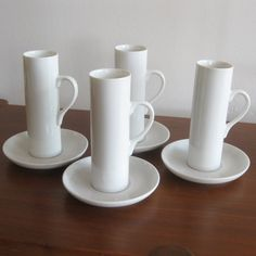 "a simple white porcelain ""Lagardo Tackett"" Espresso cup (made by Schmid-60) .  Etsy"