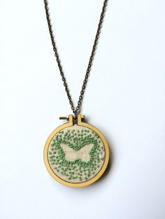 Mini Embroidery Hoop Pendant Butterfly Hand by bleuroo on Etsy