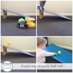Roll, Bounce, Spin and Slide - How cool is this? And it's one that you can easily make at home with books and thick cardboard. You can also just use a toilet roll/books to prop the board on. For the wooden board, a hard piece of cardboard should suffice.  @casey_patch