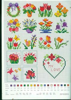 """Floral Cross Stitch Pattern Could also use yarn to """"back stitch"""" on pixel crochet blankets @ Biscornu Cross Stitch, Tiny Cross Stitch, Cross Stitch Cards, Cross Stitch Borders, Cross Stitch Designs, Cross Stitching, Cross Stitch Embroidery, Cross Stitch Patterns, Cross Stitch Flowers Pattern"""