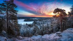 -25 Celsius - Needed to re-edit this image as i noticed some flaws to be fixed. This was a really freezing morning with such a beautiful and vibrant sunrise at Aulanko Nature reserve, Hämeenlinna, Finland. I really enjoyed this scenery. This is panorama made of 8 vertical images.