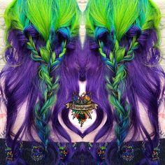 Lime, Sky Blue, and purple hair