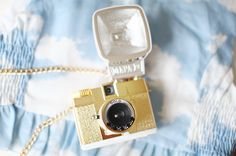 Mini gold camera necklace. cherry blossom girl