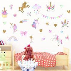 unicorn bedroom stickers cartoon animal decals rooms horse lucu sticker gambar birthday flamingo boys poster decoration walls decal untuk heart