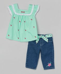 Look what I found on #zulily! Nannette Girl Green Ladybug Top & Blue Denim Pants - Girls by Nannette Girl #zulilyfinds