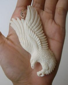 Bali Pendant Necklace Fliying EAGLE F/r Buffalo Bone Carving w ...