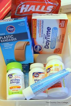 """DIY College Survival Kit... while written by a mom whose """"baby"""" has more than likely graduated and now has kids of her own, this has some good tips for things to pack up and keep in a bin for your dorm. Things that you don't know you are missing until you need them and feel miserable in the middle of the night! Read the comments at the bottom of the actual post for more ideas... like bug spray! Because Cincinnati is so humid, I highly recommend that as a GREAT addition!"""