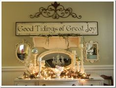I like how the mantel is done.  I can see me doing something like this for just everyday not just at Christmas