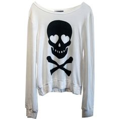 Wildfox Love Bones Baggy Beach Jumper in White. - obsessed with skull & bones Long Sleeve Sweater, Long Sleeve Shirts, Skull Sweater, Heart Sweater, Heart Shirt, Scene Outfits, Beach Shirts, Cool Style, My Style