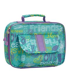 """Bixbee teal """"Hope Peace Love"""" lunch box on Zulily."""
