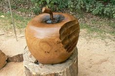 Chainsaw carvings apple