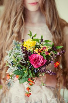 This is what I want my bouquet to be like, colorful, wild, and non-priggish.