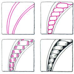 Twister, Zentangle Pattern by Suzanne McNeill, Certified Zentangle Teacher Zentangle Drawings, Doodles Zentangles, Doodle Drawings, Tangle Doodle, Zen Doodle, Doodle Art, Art Zen, Zantangle Art, Doodle Patterns
