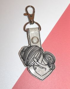 Mum & Daughter Bag Charm , MothersDay Gift , Mothers Keyring , Glitter Charm by PipsWonderlandstudio on Etsy Glitter Vinyl, White Glitter, Mothersday Gift, Vinyl Fabric, Charms, Daughter, Embroidery, Gifts, Bags