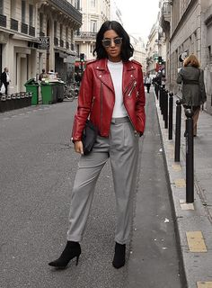 Sydne Style shows how to wear the sock booties trends like fashion blogger Tania Sarin in gray trousers. #boots #booties #shoes