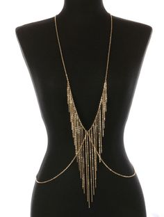 New Body Chain With Gold Fringe Layered Gold Bikini Accent Necklace Torso Fringe Necklace, Fabric Jewelry, Jewelry Art, Body Chain Harness, Gold Bikini, Body Chain Jewelry, Metal Chain, Gold Chains, Necklaces