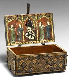 Minnekästchen, coffret décoré de scènes d'amour courtois, Rhin supérieur, 1325-50 (The Metropolitan Museum of Art, New-York, États-Unis).