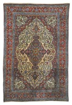 SILK KASHAN 'MOHTASHAM' RUG  CENTRAL PERSIA, CIRCA 1890  A couple of faded small stains, overall very good condition  40t.7in. x 4ft.3in. (201cm. x 130cm.)