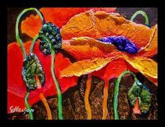 Mixed Media Flower Art Painting Poppy Fire by Colorado Mixed Media Artist Carol Nelson