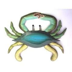 wooden crab signs | Large Wood Blue Crab Wall Plaque Beach Tropical Decor: Home & Kitchen