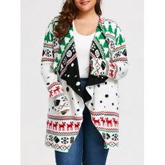 43480ef1895d1 Christmas Plus Size Graphic Tunic Draped Cardigan - White 5xl Collarless  Winter Weihnachtsdekoration