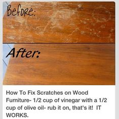 49 Super Crazy Everyday Life hacks You Never Thought Of How to Fix Scratches on Wood Furniture; cup of Vinegar with a cup of Olive oil-rub it on that's it! The post 49 Super Crazy Everyday Life hacks You Never Thought Of appeared first on Wood Diy. Household Cleaning Tips, Cleaning Recipes, House Cleaning Tips, Spring Cleaning, Cleaning Hacks, Cleaning Solutions, Deep Cleaning, Cleaning Checklist, Household Cleaners