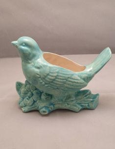 Bird Planter Aqua Vase Vintage  Planter Home by CynthiaJoyCeramics, $25.00
