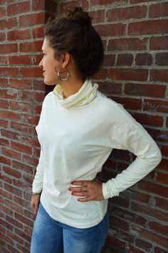 Organic Cotton Turtleneck shirt  high neck shirt by UnaPlumashop