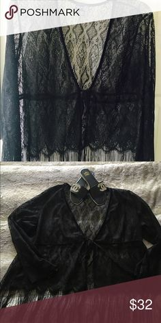 PLUS SIZE bolero lace over top Black lace over top with tie and fringe. Beautifully made. Venezia Tops
