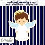 Rótulo Batom Garoto Batizado Menino Azul Marinho e Branco