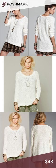 Free People Jeepster Honeycomb Sweater 🌼 Free People ivory/snow Jeepster Honeycomb pullover sweater.  Features scoop neck, long sleeves, high low hem and side vents. Preloved.  In great, gently used condition. Free People Sweaters Crew & Scoop Necks