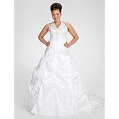 Ball Gown Style Halter, Chapel Train Plus Size Wedding Dress