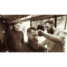 Watching my friend @Carl Classic give Jimmy from @areyoubearface a trim. Both great men! I feel slightly less manly with my ...
