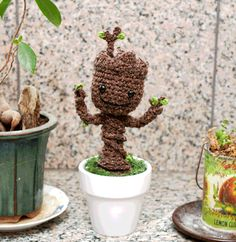 Instructions, make crochet Baby Groot