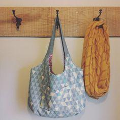 Handmade custom order bag and scarf looking pretty on my DIY reclaimed wood coat rack.