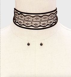 Lace Ribbon Tie Wrap Choker Necklace - Black Cute Choker Necklaces, Black Choker Necklace, Lace Ribbon, Chokers, Jewels, Tie, Fashion, Black Choker, Moda