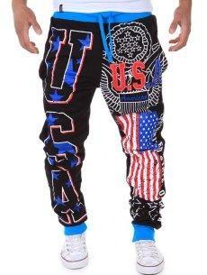#yoshop.com - #yoshop USA Print Beam Feet Lace-Up American Flag Sweatpants - AdoreWe.com