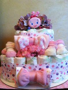 Diaper Cake Baby Girl Pink diaper cake baby by TeensyTinyBabyGifts, $45.00