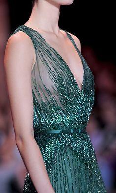 Elie Saab, fall 2013 #runway #emerald #dress